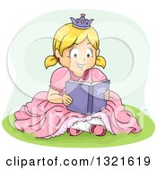 Clipart Of A Happy Blond White Girl In A Princess Costume Sitting In Grass And Reading A Book Royalty Free Vector Illustration by BNP Design Studio