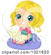 Clipart Of A Happy Blond White Girl Sitting On A Cushion And Reading A Book Royalty Free Vector Illustration