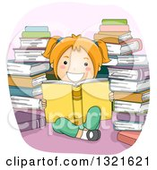 Happy Red Haired White Girl Reading In A Circle Of Stacked Books