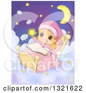White Girl Touching A Star And Reading In Bed In The Night Sky