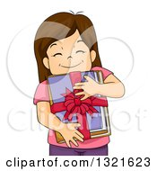 Clipart Of A Happy Brunette White Girl Hugging A Bundle Of Gifted Books Royalty Free Vector Illustration