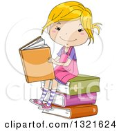 Clipart Of A Sketched Happy Blond White Girl Sitting On A Stack Of Books And Reading Royalty Free Vector Illustration