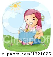 Clipart Of A Happy Red Haired White Girl Reading On A Hill On A Sunny Day Royalty Free Vector Illustration