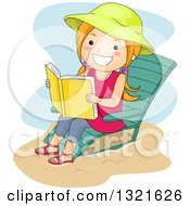 Clipart Of A Happy Red Haired White Girl Sitting On A Beach Chair And Reading Royalty Free Vector Illustration by BNP Design Studio