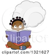 Clipart Of A Thinking Black Girl Sitting On The Floor And Reading A Book Royalty Free Vector Illustration