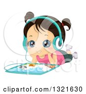 Clipart Of A Happy Brunette Girl Resting On The Floor And Listening To An Audio Book On A Tablet Computer Royalty Free Vector Illustration