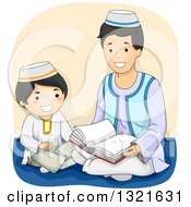 Clipart Of A Happy Muslim Father Reading The Quran To His Son Royalty Free Vector Illustration by BNP Design Studio