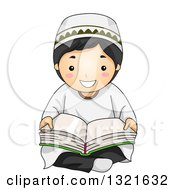 Clipart Of A Happy Muslim Boy Sitting On The Floor And Reading The Quran Royalty Free Vector Illustration
