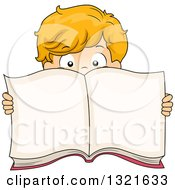 Clipart Of A White Boy Peeking Over And Holding An Open Book Royalty Free Vector Illustration