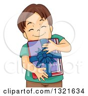 Happy Brunette White Boy Hugging A Bundle Of Gifted Books