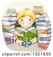 Happy Blond White Boy Reading In A Circle Of Stacked Books