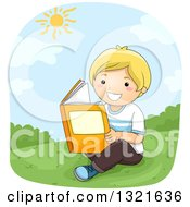 Clipart Of A Happy Blond White Boy Reading On A Hill On A Sunny Day Royalty Free Vector Illustration