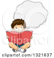 Clipart Of A Thinking Brunette White Boy Sitting On The Floor And Reading A Book Royalty Free Vector Illustration