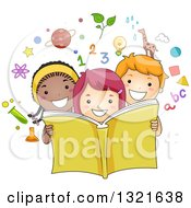 Clipart Of A Happy School Boy And Girls Reading An Educational Book With Science Math Alphabet And Nature Icons Royalty Free Vector Illustration