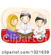Clipart Of A Happy Muslim Girl And Boys Reading The Quran Together Royalty Free Vector Illustration