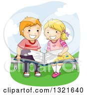 Clipart Of A Happy White School Boy And Girl Reading A Book On A Park Bench Royalty Free Vector Illustration