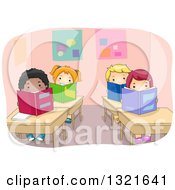 Clipart Of A Class Room Of Happy Children Reading Books At Their Desks Royalty Free Vector Illustration