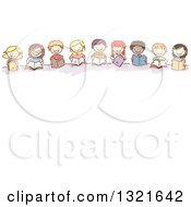 Clipart Of A Line Of Happy Sketched Children Reading Books Over Text Space Royalty Free Vector Illustration