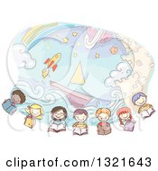 Clipart Of A Row Of Sketched Happy Children Reading Books Under Imaginative Scenes Of A Castle Boat Rocket And Rainbow Royalty Free Vector Illustration