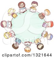 Clipart Of A Sketched Circle Of Happy Children Reading Books Around A Table Royalty Free Vector Illustration