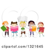 Clipart Of A Line Of Happy Children Reading And Holding Up Books Royalty Free Vector Illustration