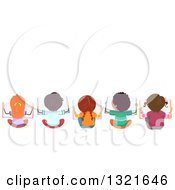 Clipart Of A Rear Aerial View Of A Line Of Children Sitting On The Floor And Reading Books With Text Space Above Royalty Free Vector Illustration