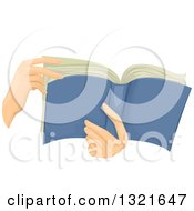 Clipart Of Hands Holding A Book Royalty Free Vector Illustration