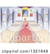 Clipart Of A Castle Throne Room Interior With A Pink Carpet Royalty Free Vector Illustration