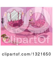 Clipart Of A Sketched Pink Parisian Themed Bedroom Royalty Free Vector Illustration
