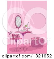 Clipart Of A Pink Table And Stools In A Feminine Room With A Mask And Champagne Royalty Free Vector Illustration