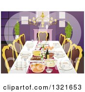 Clipart Of A Formal Dining Room Table With Place Settings And Foods Royalty Free Vector Illustration