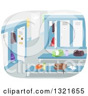 Clipart Of A Boys Locker Room With Items On Benches Royalty Free Vector Illustration by BNP Design Studio
