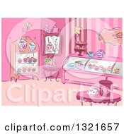 Clipart Of A Sketched Pink Patisserie Interior With Cupcakes Royalty Free Vector Illustration by BNP Design Studio