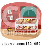 Clipart Of A Cafeteria Counter And Display Royalty Free Vector Illustration