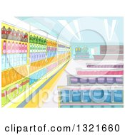 Clipart Of A Convenience Store Interior Royalty Free Vector Illustration