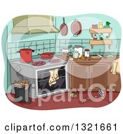 Clipart Of A Messy Kitchen Royalty Free Vector Illustration