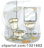 Clipart Of A Disgusting Bathroom Royalty Free Vector Illustration by BNP Design Studio