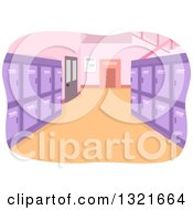Clipart Of A Clean School Hallway Interior With Purple Lockers Royalty Free Vector Illustration by BNP Design Studio
