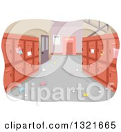 Clipart Of A Messy School Hallway Interior With Red Lockers Royalty Free Vector Illustration by BNP Design Studio