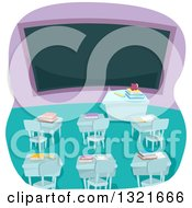 Clipart Of An Empty High School Classroom Interior With Books On Desks And A Blank Chalk Board Royalty Free Vector Illustration by BNP Design Studio