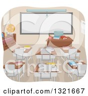 Clipart Of An Empty College Classroom Interior With Books On Desks And A Blank White Board Royalty Free Vector Illustration by BNP Design Studio