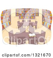 Clipart Of A Library Interior With Tables Royalty Free Vector Illustration