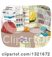 Clipart Of A College Campus Store Interior With Merchandise Royalty Free Vector Illustration