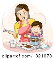 Clipart Of A Happy Brunette White Mother Making Chocolate With Her Daughter Royalty Free Vector Illustration