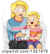 Clipart Of A Happy Blond White Mother Teaching Her Daughter How To Use A Tablet Computer Royalty Free Vector Illustration