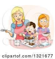 Happy White Mother Teaching Her Daughters How To Make Chocolate