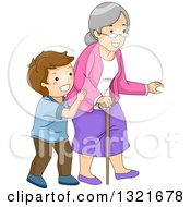 Clipart Of A Helpful Brunette White Boy Helping His Granny Cross A Street Royalty Free Vector Illustration