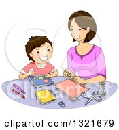 Clipart Of A Happy Brunette White Mother And Son Making A Scrapbook Royalty Free Vector Illustration