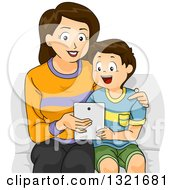 Clipart Of A Happy Brunette White Mother Sitting And Teaching Her Son How To Use A Tablet Computer Royalty Free Vector Illustration