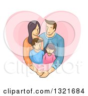 Family Of Four Embracing In A Pink Heart
